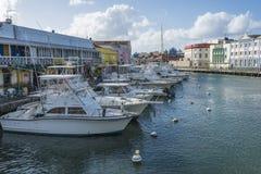 码头倾船布里季敦巴巴多斯 免版税库存照片