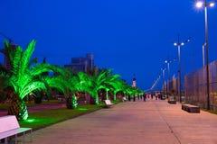 巴统码头区在晚上,乔治亚 库存图片