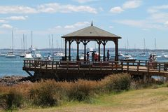码头在埃斯特角城,乌拉圭 库存照片