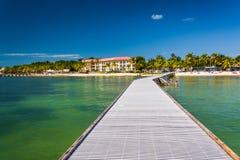 码头在墨西哥湾在基韦斯特岛,佛罗里达 免版税库存图片