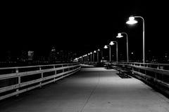 码头34在晚上,在哈得逊河公园,曼哈顿,纽约 库存图片