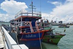 码头在芭达亚,泰国 免版税库存照片
