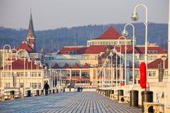 码头在索波特在早晨 图库摄影