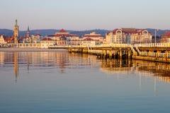 码头在索波特在早晨 免版税库存照片