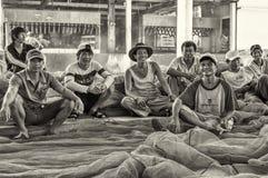 码头工人在芽庄市 免版税库存图片