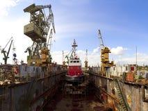 码头救火船 库存照片
