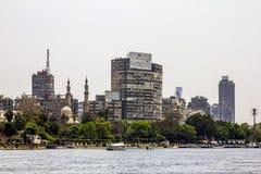 码头的房子在河尼罗在开罗 埃及 图库摄影