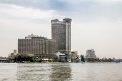 码头的房子在河尼罗在开罗 埃及 免版税库存照片