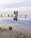 从码头的木船坞视图 免版税库存照片