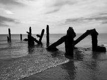 码头的残破的柱子 免版税库存照片