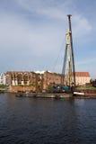 码头的重建在市中心。 免版税库存照片