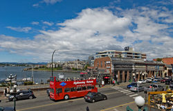 码头街道和本营正方形,维多利亚, BC,加拿大 免版税库存照片
