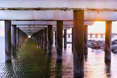 码头钢筋混凝土柱子  帕兰加,立陶宛 免版税库存图片