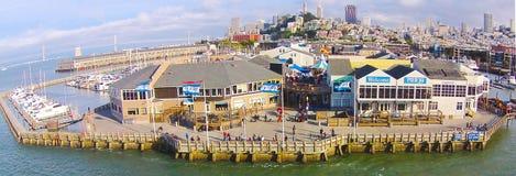 码头39鸟瞰图在旧金山 库存照片