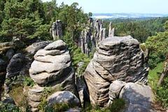 砂岩岩石在捷克天堂 免版税图库摄影
