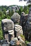 砂岩岩石在捷克天堂 免版税库存图片