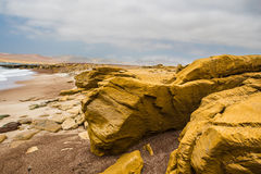 砂岩陡峭的海岸和棕色沙子靠岸 库存照片