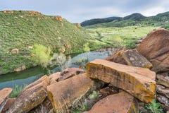 砂岩blaocks和山谷 免版税库存照片