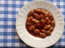砂锅烹调希腊肉剁碎的moussaka蔬菜 Gigandes豆板材  免版税库存照片