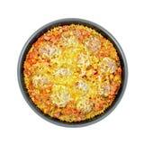 砂锅用丸子和米在煎锅 免版税库存照片