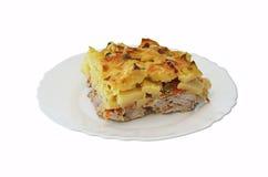 砂锅用土豆和肉 库存照片