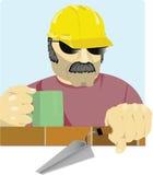 砌砖工强壮男子 免版税库存照片