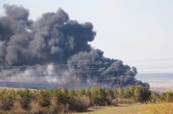砍伐森林、火和烟-水平的照片 免版税库存照片