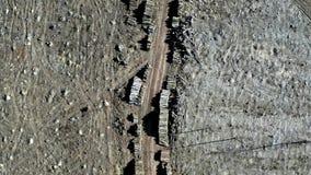 砍伐森林,环境破坏 在风暴以后的鸟瞰图 股票录像