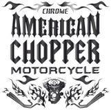 砍刀摩托车元素-字法 库存例证