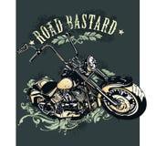 砍刀摩托车的葡萄酒图象 免版税库存照片