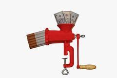 砍在香烟的货币 免版税库存照片