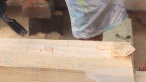 砍木头的坚强的伐木工人 股票录像