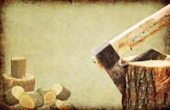 砍概念火日志木头的轴 图库摄影
