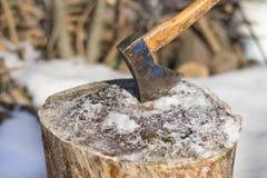 轴 砍的树设备 图库摄影