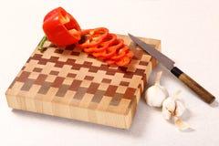 砍蔬菜的董事会木 库存图片