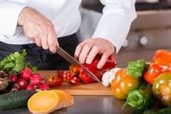 砍蔬菜的主厨 库存图片