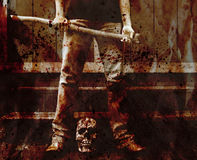 砍血淋淋的凶手 免版税库存图片