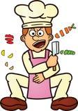 砍食品成分动画片的厨师 免版税库存图片