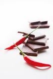 砍黑暗的巧克力用精选新鲜的炽热的辣椒 免版税库存照片