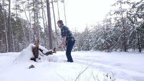 砍轴的伐木工人切开木柴在冬天森林里 股票视频