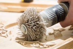 研在木雕刻以后的产品 免版税库存图片