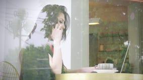 研究企业项目的女孩坐在咖啡店 坚持不懈、聪明的技术和连接的概念与网wor 股票录像