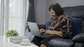 研究便携式计算机的愉快的资深妇女 股票视频