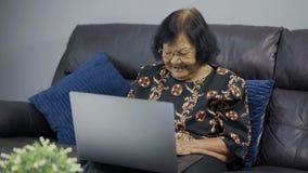 研究便携式计算机的愉快的资深妇女 股票录像