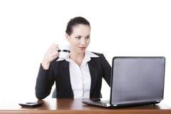 研究膝上型计算机的美丽的深色的女实业家 免版税库存图片