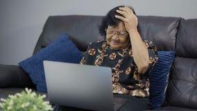 研究便携式计算机的被注重的资深妇女 股票录像