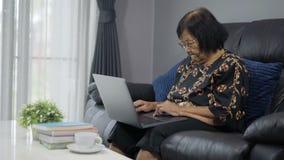 研究便携式计算机的资深妇女 股票视频