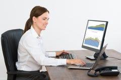 研究关于计算机的统计报告的女实业家 免版税库存照片