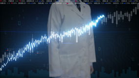 研究员工程师接触了屏幕、各种各样的生气蓬勃的股市图和图表 增加线 人工智能