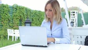 研究在咖啡馆的现代膝上型计算机的少妇 影视素材